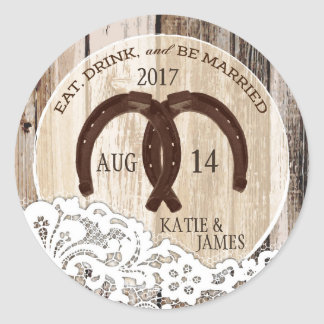 Rustic Wood Lace Horseshoe Country Wedding Classic Round Sticker