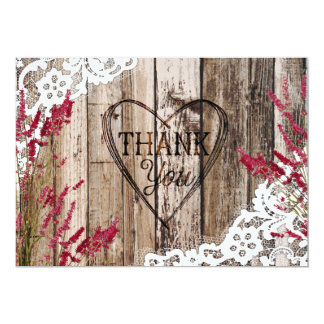 Rustic Wood Lace Lavender Heart Etching Thank You Card