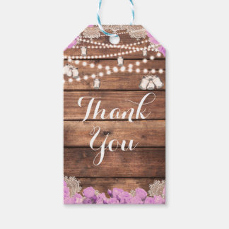 Rustic Wood Lace Lavender Roses Bridal Favor Gift Tags