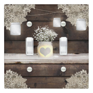 Rustic Wood, Lace & Mason Jars Barn Elegant Chic Light Switch Cover