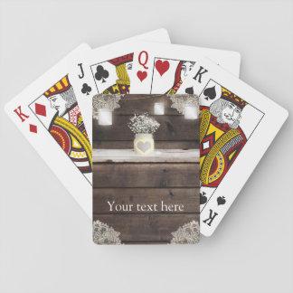 Rustic Wood, Lace & Mason Jars Barn Elegant Custom Poker Deck