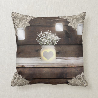 Rustic Wood, Lace & Mason Jars Barn Elegant Custom Throw Pillow