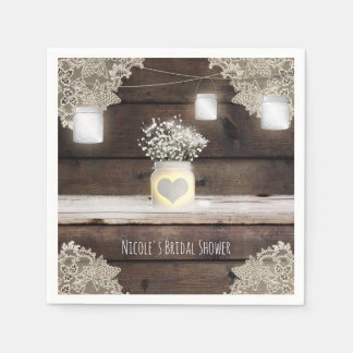 Rustic Wood, Lace & Mason Jars Barn Elegant Party Paper Napkins