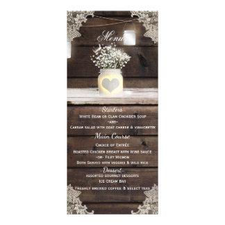 Rustic Wood, Lace & Mason Jars Barn Wedding Menu