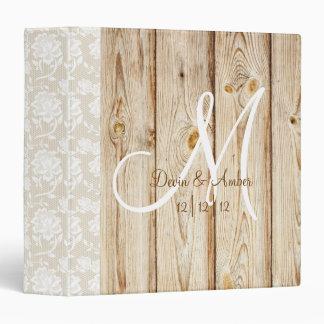 Rustic Wood & Lace monogrammed wedding planner Vinyl Binder