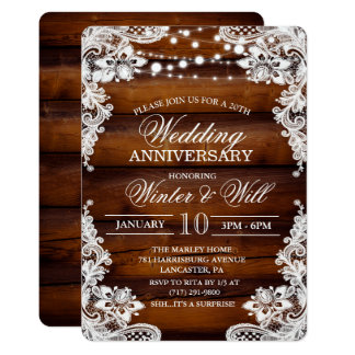 Rustic Wood Lace Retirement Invitation