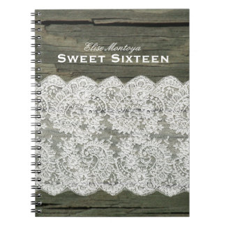 Rustic Wood Lace Sweet Sixteen Personalized Notebooks