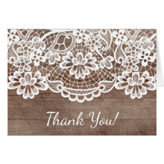 Rustic Wood Lace Thank You Note Card