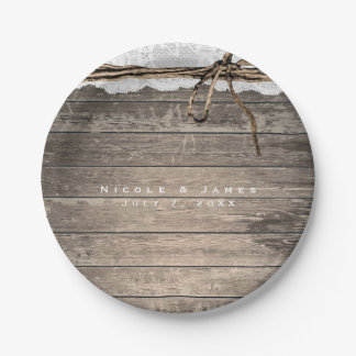 Rustic Wood Lace  Twine Romantic Wedding Reception Paper Plate