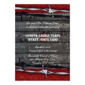 Rustic Wood Leather Barbed Wire Cowboy Wedding Card
