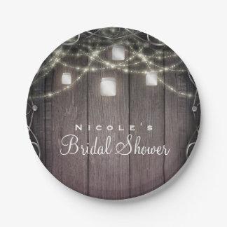 Rustic Wood Lights & Mason Jars Flourish Wedding Paper Plate