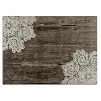 Rustic Wood Look and Lace Glass Cutting Board