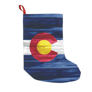 Rustic wood look Colorado flag holiday stocking Small Christmas Stocking
