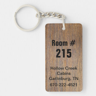Rustic Wood Look Hotel Room Number Keychain