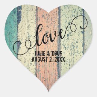 Rustic Wood Love Heart Sticker