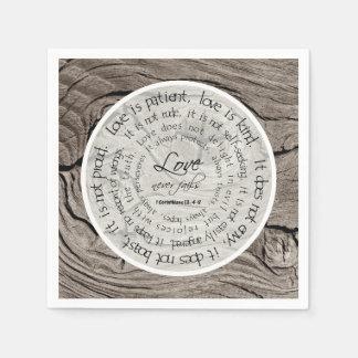 Rustic Wood Love is Patient Wedding Paper Napkins