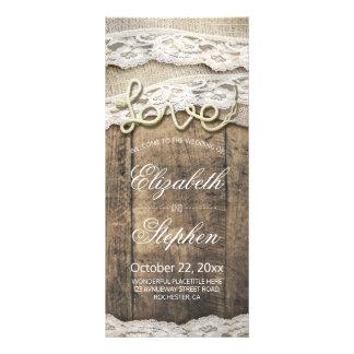Rustic Wood Love Rope Burlap Lace Wedding Program