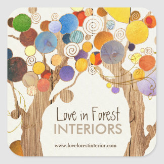 Rustic Wood Love Trees Business Square Sticker