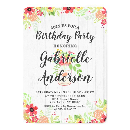 Rustic Wood & Mason Jar Birthday Party Invitation