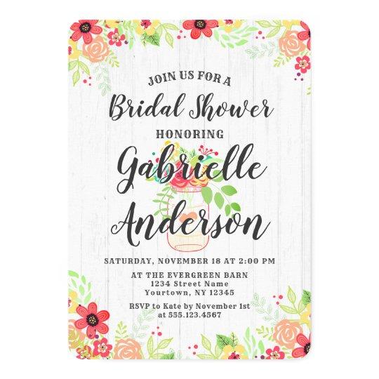 Rustic Wood & Mason Jar Bridal Shower Invitation