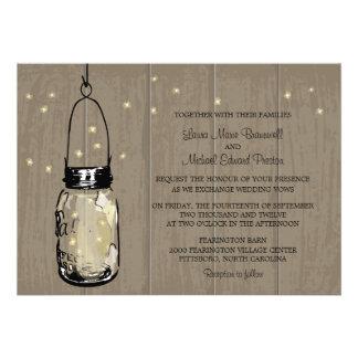 Rustic Wood Mason Jar Fireflies Personalized Announcement