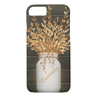 Rustic Wood, Mason Jar, Gold Wheat, Personalized iPhone 8/7 Case
