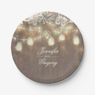 Rustic Wood Mason Jar Lights Lace Barn Wedding Paper Plate