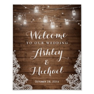 Rustic Wood Mason Jar Lights Lace Wedding Sign