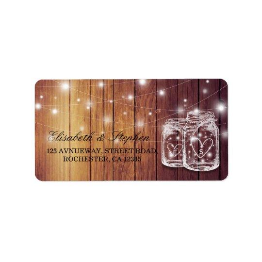 Rustic Wood Mason Jar String Light Wedding Address Label