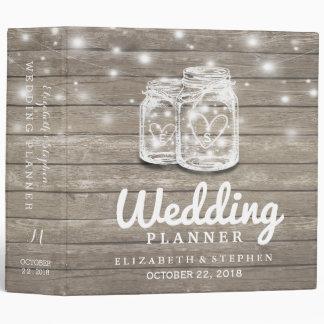Rustic Wood Mason Jar String Light Wedding Planner 3 Ring Binder