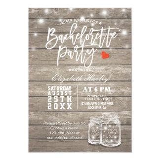 Rustic Wood & Mason Jar String Lights Bachelorette Card