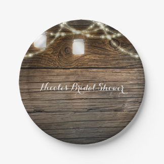 Rustic Wood Mason Jar String Lights Country Glam Paper Plate