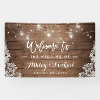 Rustic Wood Mason Jar String Lights Lace Wedding Banner