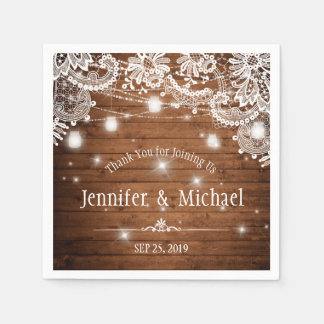 Rustic Wood Mason Jar String Lights Lace Wedding Paper Napkins