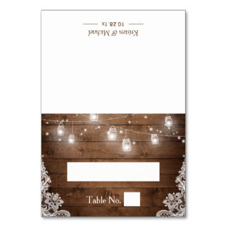 Rustic Wood Mason Jar String Lights Wedding Place Card