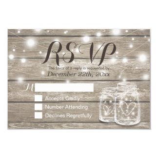 Rustic Wood & Mason Jar String Lights Wedding RSVP Card
