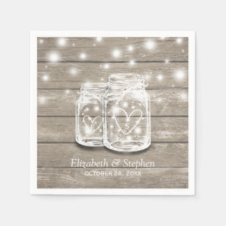 Rustic Wood Mason Jar String Lights Wedding Shower Napkin