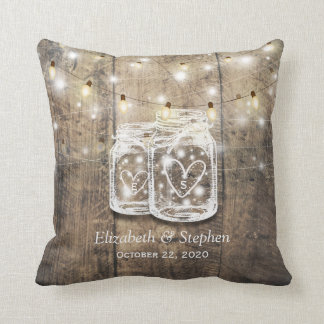 Rustic Wood Mason Jar String Lights Wedding Shower Throw Pillow