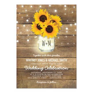 Rustic Wood Mason Jar Sunflowers Lights Wedding Card
