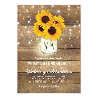 Rustic Wood Mason Jar Sunflowers Lights Wedding Card