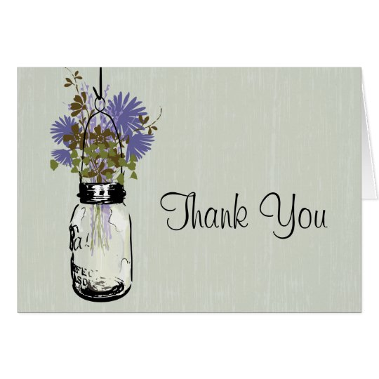 Rustic Wood Mason Jar Wildflowers Card