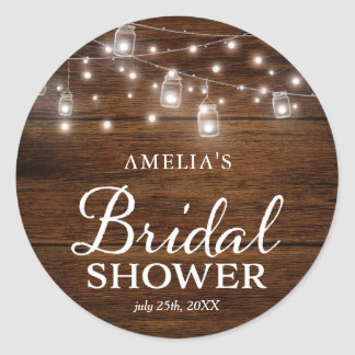 Rustic Wood Mason Jars and Lights Bridal Shower Classic Round Sticker