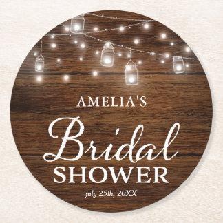 Rustic Wood Mason Jars and Lights Bridal Shower Round Paper Coaster