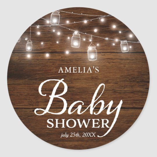 Rustic Wood Mason Jars Lights Baby Shower Classic Round Sticker