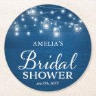 Rustic Wood Mason Jars & Lights Blue Bridal Shower Round Paper Coaster