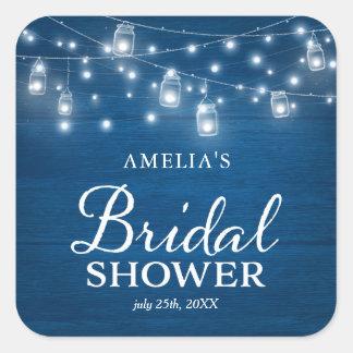 Rustic Wood Mason Jars Lights Blue Bridal Shower Square Sticker