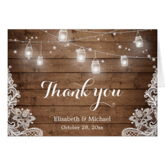 Rustic Wood Mason Jars Lights Lace Thank You Note Card