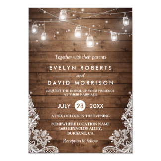 "Rustic Wood Mason Jars String Lights Lace Wedding 5"" X 7"" Invitation Card"