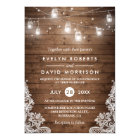Rustic Wood Mason Jars String Lights Lace Wedding Card