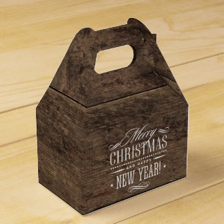 Rustic Wood Merry Christmas Decor Favor Box
